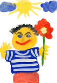 Man with flower. child drawing — Stock Photo