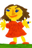 Girl in a red dress. child drawing. — Stock Photo