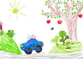 Police car and nature. child drawing — Stock Photo