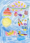Children's imagination, pencil drawing — Stock Photo