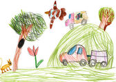 Auto on outdoor. child drawing — Stock Photo