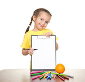 Girl with clipboard and felt pen — Stock Photo