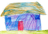 Rural house. child drawing — Stock Photo