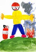 Fireman. child drawing — Stock Photo