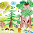 Forest and wild animals. child drawing — Stock Photo #40673615