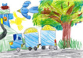 Blue truck on outdoor. child drawing — Stock Photo