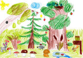 Forest and wild animals. child drawing — Stock Photo