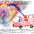 Fire truck rescues house. child drawing — Stock Photo