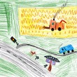 Autumn landscape and harvest. child's drawing. — Stock Photo
