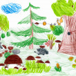 Forest and wild animals. child drawing — Stock Photo #41950951