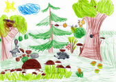 Forest and wild animals. child drawing — 图库照片