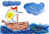 Sailing ship. child drawing — Stock Photo