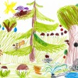 Forest and wild animals. child drawing — Stock Photo #42329393