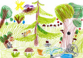 Forest and wild animals. child drawing — ストック写真