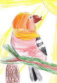 Bird on branch. child drawing — Stock Photo