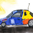 RC toy car. child's drawing on paper. — Stock Photo