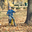Boy rides a bicycle in park — Stock Photo #44097083