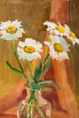 Camomile in vase painted oil on canvas. — Stock Photo