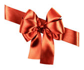 Red brown bow made from silk ribbon  — Stock Photo