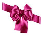 Purple bow made from silk ribbon — ストック写真