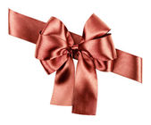 Brown bow made from silk ribbon — Stock Photo