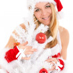 Christmas woman and tree — Stock Photo #11986139