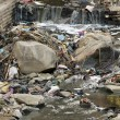 Pollution in asian river - Stock Photo