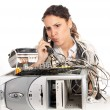 Young business woman calling technology support for the broken computer — 图库照片