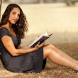 Reading in nature - Stock Photo