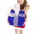 Woman giving present — Stock Photo