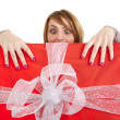 Funny girl with present — Stock Photo