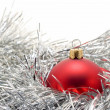 Red Bauble in garland — Stock Photo