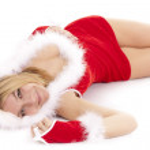 Santa woman lying — Stock Photo #13375735