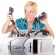 Woman lost in technology — Stockfoto