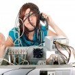 Woman technology panic — Stock Photo