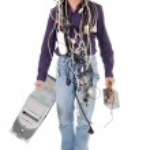 Technician carrying computer — Stock Photo #13376595