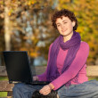 Young Woman Sitting on Park Bench — Stock Photo
