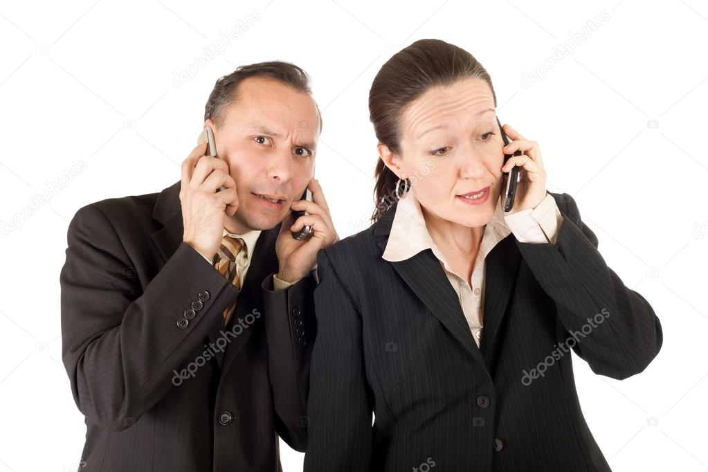 Businesswoman and businesswoman phoning isolated on white background — Stock Photo #13371017