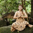 Woman nature meditation — Stock Photo