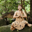 Stock Photo: Woman nature meditation