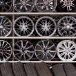 Alloy car wheels wall — Stock Photo #13382784