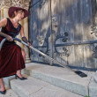 Religious cleaner woman — Stock Photo