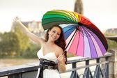 Beauty and umbrella — Stock Photo