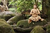 Woman yoga in forest — Stock Photo