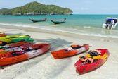 Tropical beach and canoe — Stock Photo
