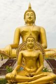 Two golden buddha — Stock Photo