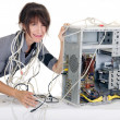 Woman computer panic — Stock Photo
