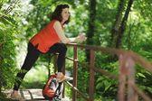 Backpacker woman — Stock Photo