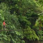 Woman walking on wooden bridge — Stock Photo #29884007