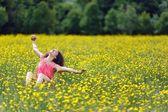 Beautiful young woman stretching with pleasure — Foto de Stock